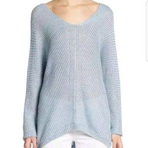 Vince linen double V-neck sweater blue Sz Small